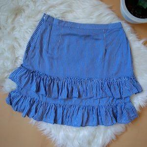 Blue striped mini skirt with ruffles